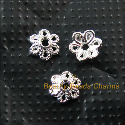 100 New Tiny Flower Connectors Silver Plated End Bead Caps 6mm