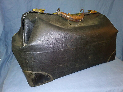 Antique Doctor's Bag Black with Leather Handle & Brass Latches