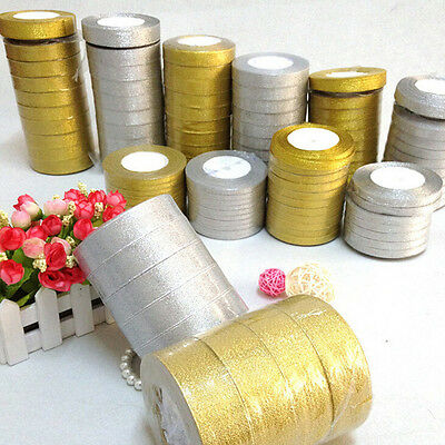 25yards Silk Satin Ribbon Gold/Sliver Wrapping Christmas Decorative DIY 6mm New