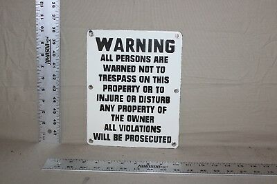 Warning Warned Not To Trespass Porcelain Metal Sign Gas Oil Private Property