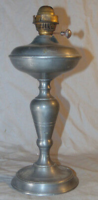 "Antique Italian Pewter Oil Lamp Unknown Maker 12"" T S Castle, Star & Tree Mark"
