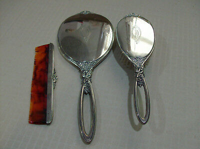 R & B Co. Estate Sterling Silver Vanity Hand Mirror, Brush & Comb EUC Free Ship