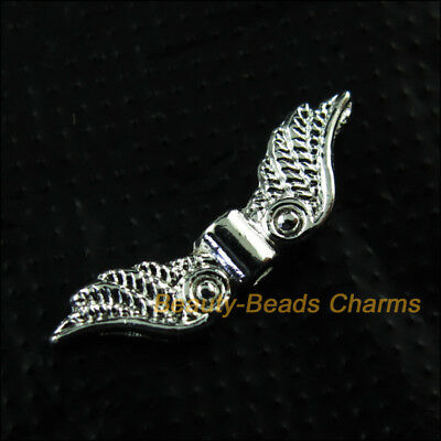 20 New Angel's Wings Charms Animal Wings Silver Plated Spacer Beads 7x23mm