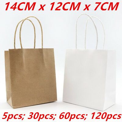 Mini Small Kraft Craft Brown White Paper Party Carry Bags Handle Gift Bags 14CM