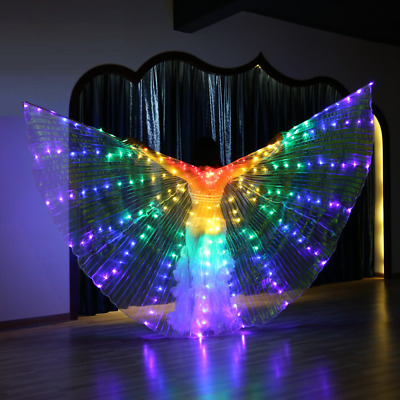 S216# Belly Dance Costume Adults LED Isis Wings (with 2 Sticks) 7 Colors
