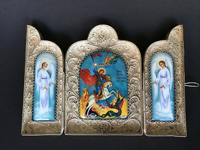 Russian Orthodox Triptych Folder Enamel Filigree Icon Saint George
