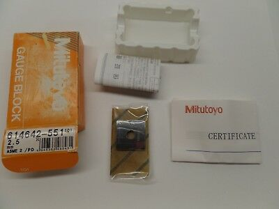 NEW SEALED MITUTOYO GAUGE BLOCK WITH PAPERWORK STEEL ASME 2 614642-551 2.5 mm