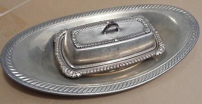 Butter Dish English Silver Mfg Co 391 glass insert Oneida Bread Tray Silver