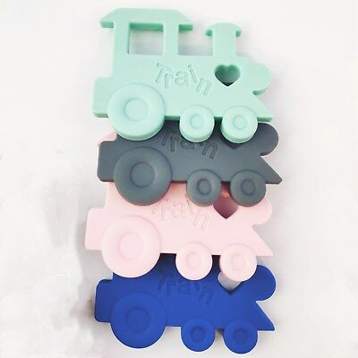 2pcs Silicone Baby Teether Train Shape Infant Teething Toy BPA free Bendable