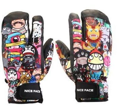 Men & Women 3-Finger Winter Gloves Ski Snowboard Snow Thermal Waterproof Unisex