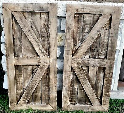 Wood Barn Doors Wall Decor Set of 2