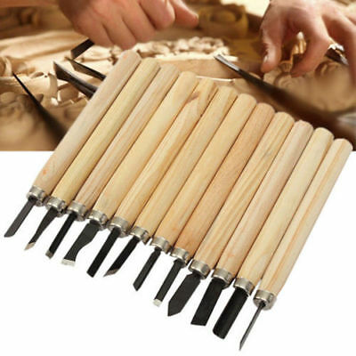 12Pcs Wood Carving Hand Chisel Woodworking Tool Set Woodworkers Gouges RF