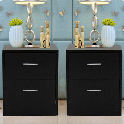 Pair Black Bedroom Bedside Table Unit Cabinet Nightstand with 2 Drawers in Each
