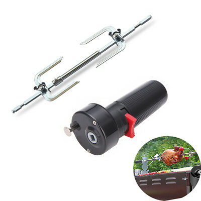 Electric BBQ Rotisserie Grill Roast Rod Spit Universal Kit Motor Meat Skewer