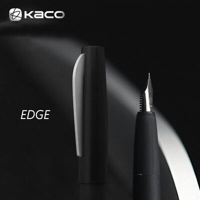 New Launched KACO EDGE Black Brushed Metal Fountain Pen Schmidt EF/F/M, Cased