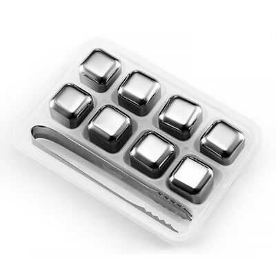 Stainless Steel Ice Cubes Reusable Drink Cooler Pack Of 6 Metal Drink Chiller AU