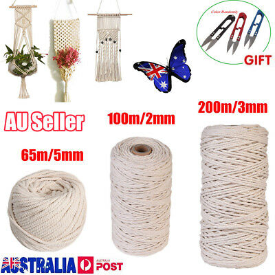 2-5mmX200m 100% Natural Cotton String Twisted Cord Beige Craft Macrame Artisan~