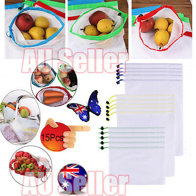 15x Eco Friendly Reusable Mesh Produce Bags Superior Double-Stitched Strength JW
