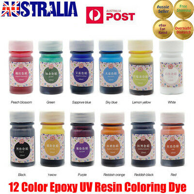 12 Bottles 12 Color Epoxy UV Resin Coloring Dye Colorant Resin Pigment Craft JW