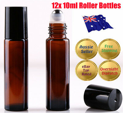 12 10ml Roller Bottles Amber THICK Glass Steel Roll on Ball for Essential Oils W