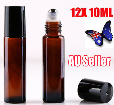 12 10ml Roller Bottle Amber THICK Glass Steel Roll on Ball for Essential Oils JW