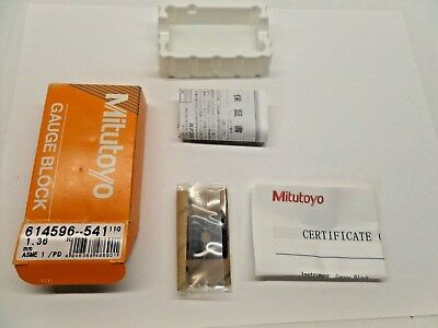 NEW SEALED MITUTOYO GAUGE BLOCK WITH PAPERWORK STEEL ASME 1 614596-541 1.36 mm