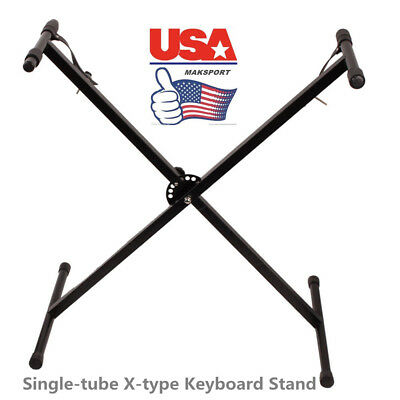 "US Single-tube X-type Keyboard Stand Black  17"" to 37"" in height HOME display"