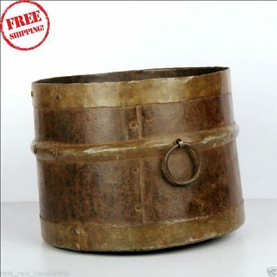 1850's Indian Antique Hand Crafted Engraved Iron Grain Measurement Pot Mana 9159