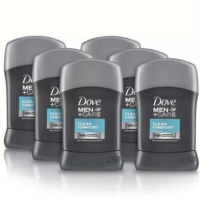 6 x Dove Men + Care Antiperspirant Deodorant - Clean Comfort Stick (50ml)