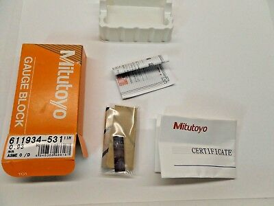 NEW SEALED MITUTOYO GAUGE BLOCK WITH PAPERWORK STEEL ASME 0 611934-531 0.93 mm