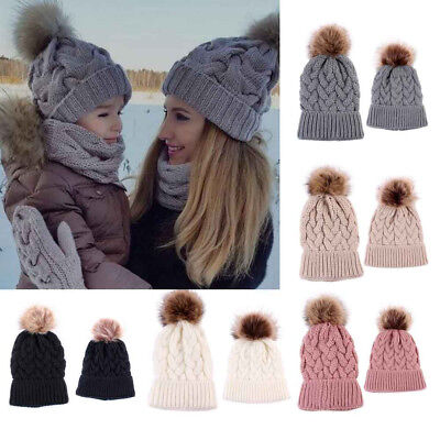 Women Girl Boy Winter Kids Baby Hats Knitted Knitting Keep Warm Family Style S9