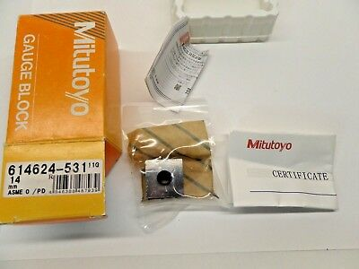 NEW SEALED MITUTOYO GAUGE BLOCK WITH PAPERWORK STEEL ASME 0 614624-531 14 mm