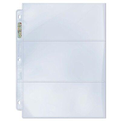 Ultra PRO 3-Pocket Binder Pages Tickets Currency 200 x 92mm Platinum Clear x 10