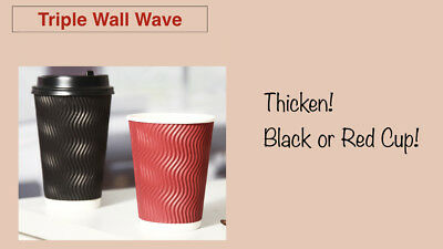 100pcs Triple Wall Wave+Lids(Switch) 8oz/12oz/16oz Disposable Coffee Cups