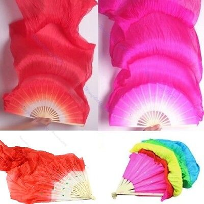 Pop Colorful Belly Dance Bamboo Long Silk Fans Veils 4 Colors Hand Made Silk Fan