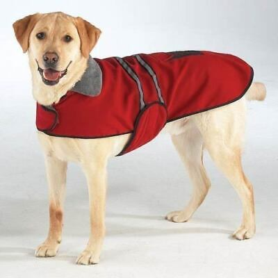 Red Casual Reflective Fleece warm pet DOG Coat Winter Jacket Sweater New