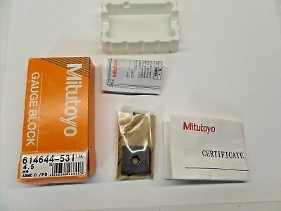 NEW SEALED MITUTOYO GAUGE BLOCK WITH PAPERWORK STEEL ASME 0 614644-531 4.5 mm