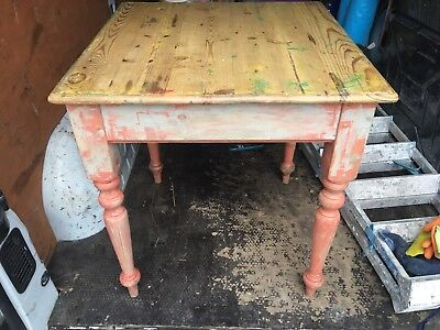 Old Victorian Pine Plank Scrub Top Table