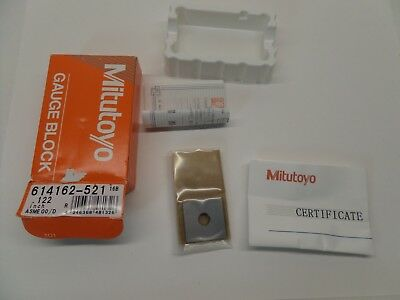 NEW SEALED MITUTOYO GAUGE BLOCK WITH PAPERWORK STEEL ASME 00 614162-521 0.122 in