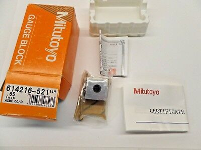 NEW SEALED MITUTOYO GAUGE BLOCK WITH PAPERWORK STEEL ASME 00 614216-521 0.65 in