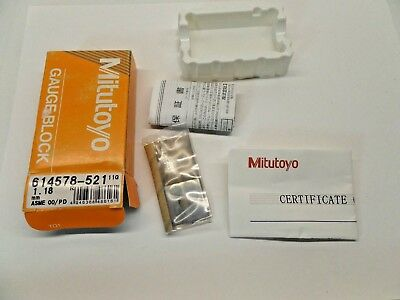 NEW SEALED MITUTOYO GAUGE BLOCK WITH PAPERWORK STEEL ASME 00 614578-521 1.18 mm