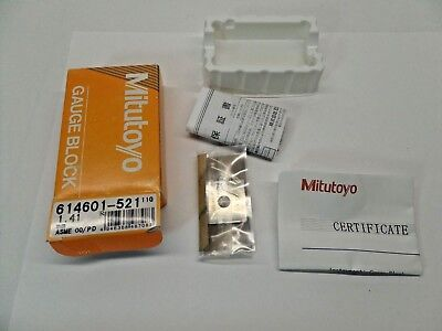 NEW SEALED MITUTOYO GAUGE BLOCK WITH PAPERWORK STEEL ASME 00 614601-521 1.41 mm