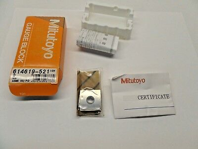 NEW SEALED MITUTOYO GAUGE BLOCK WITH PAPERWORK STEEL ASME 00 614619-521 9 mm
