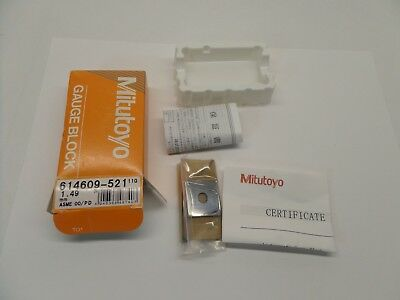 NEW SEALED MITUTOYO GAUGE BLOCK WITH PAPERWORK STEEL ASME 00 614609-521 1.49 mm