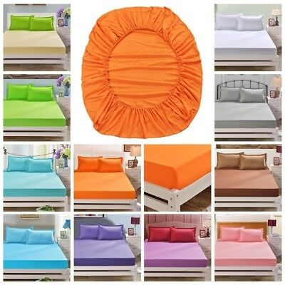 Fashion Fitted Sheet Bed Sheets Polyester Cotton Single Double King Size AU