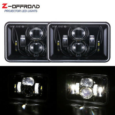 DOT 2x 4X6 Inch LED Headlights DRL for Peterbil Kenworth Freightinger Ford Probe