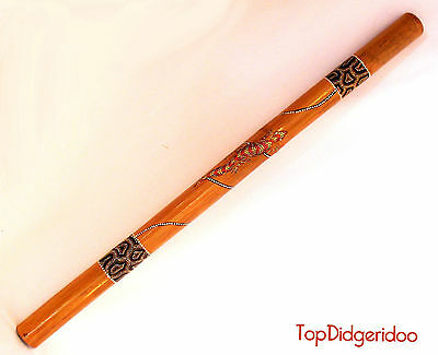 "47 "" 120cm Didgeridoo Native Artwork Dot-Peint Lézards + Sac + Cire D'Abeille"