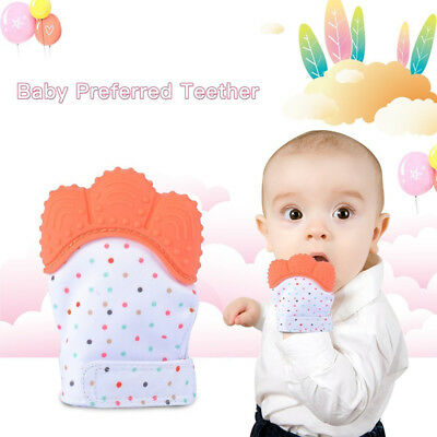 Baby Silicone Mitts Teething Mitten Teething Glove Candy Wrapper Teether Toys AU