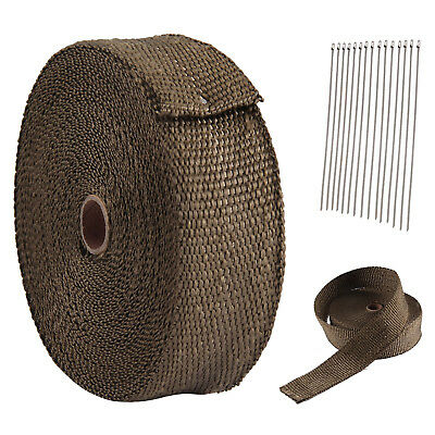 15M Titanium Wrap Exhaust Manifold Brown Insulating Tape+10 Cable Ties 30Cm Uk