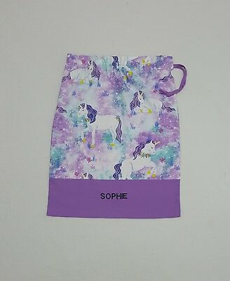 **free Name Beautiful Unicorn Mauve Personalised Embroidery Library Bag Fd0512